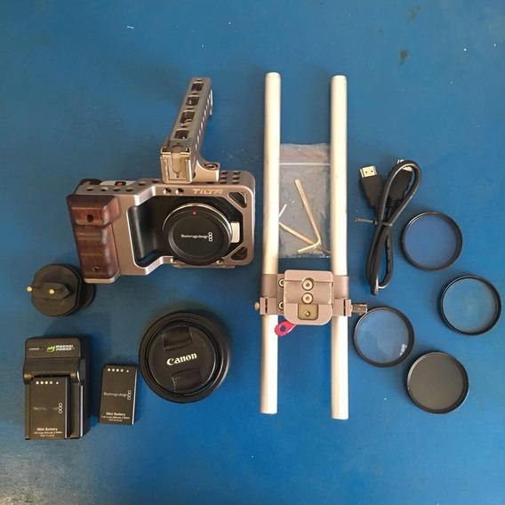 Blackmagic Pocket Cinema Camera + Lente Lumix + Acessórios