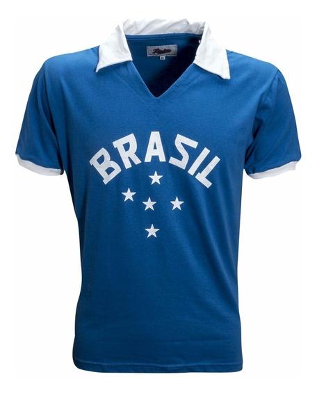 Camisa Brasil Azul 5 Estrelas Seleção Brasileira Futebol