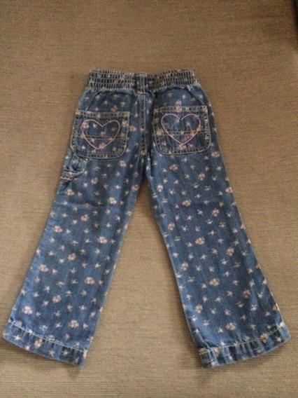 Pantalon Jean Oshkosh Recto Floreado Nena 2 Años