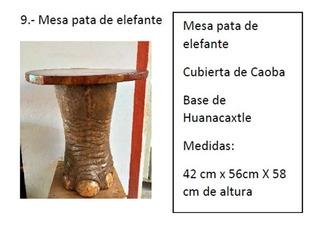 Masa Lateral De Caoba Base Pata Elefante De Huamuchil