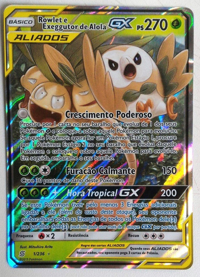 Carta Pokemon Rowlet E Exeggutor De Alola Gx