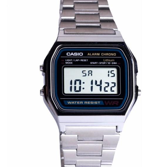 Relógio Unissex Casio A158wa-1d Retrô Prata Digital Na Caixa