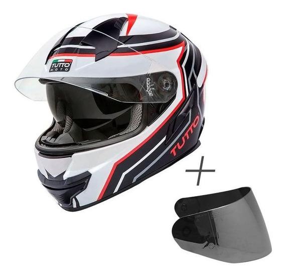 Capacete Tutto Racing (c/ Viseira Solar) Branco/vermelho Rs1