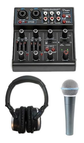 Imagen 1 de 5 de Kit De Grabacion Mixer Usb+auricular Cerrado+microfono
