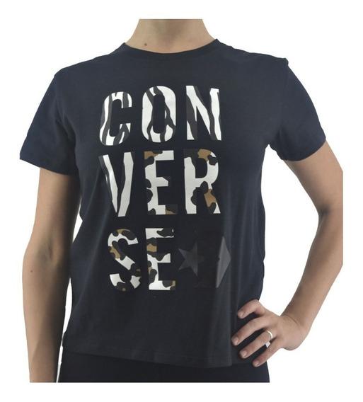 Remera Converse Wild Mix Negra Logo Camo Mujer Rcmdr