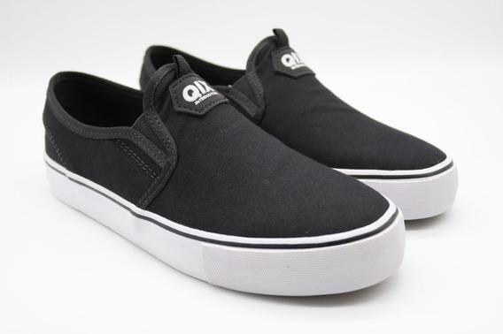 Tênis Qix Skate Preto Branco Slim Slip Original Alpargata
