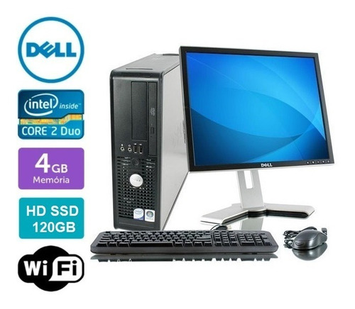 Imagem 1 de 6 de Pc Completo 4gb Ram/ssd120gb+ Wifi+ Monitor 17+ Tec. E Mouse