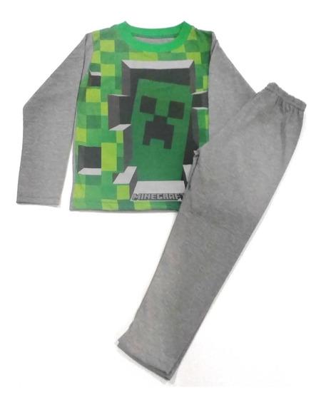 Pijama Minecraft Invierno Manga Larga Algodon Fty Calzados