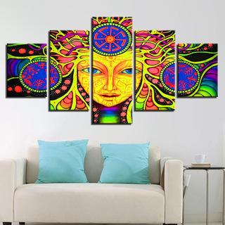 Painel Quadro 5 Partes Mandala Psicodel Decoração 110x55cm