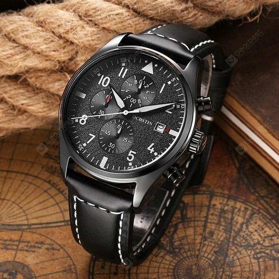 Relógio Masculino Original Candise Em Couro Legítimo