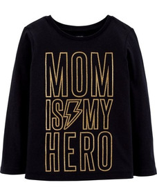 Mom Is My Hero Glitter Playera Niña Carters