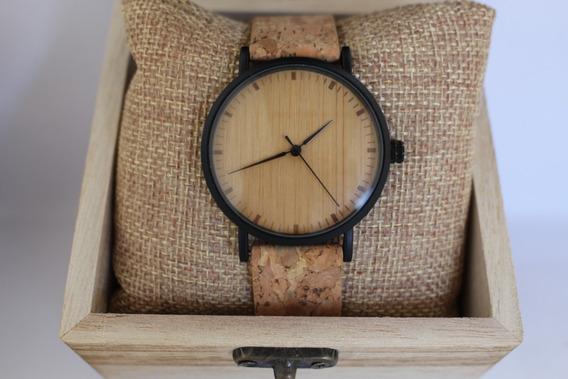 Relógio Unissex Analógico Bobo Bird Cortiça Preto E19 Aço