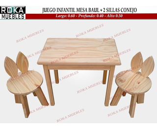 Mesa Infantil + 2 Sillita Conejo De Niño Pino 0.60x0.40 Roka