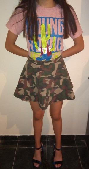 Falda Camuflaje Militar Verde Falda Circular Plisada