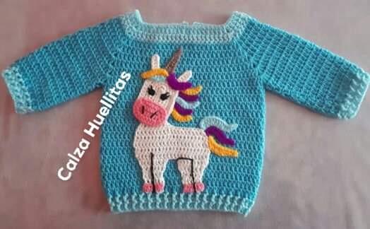Saco Tejido A Mano Unicornio 12 Meses