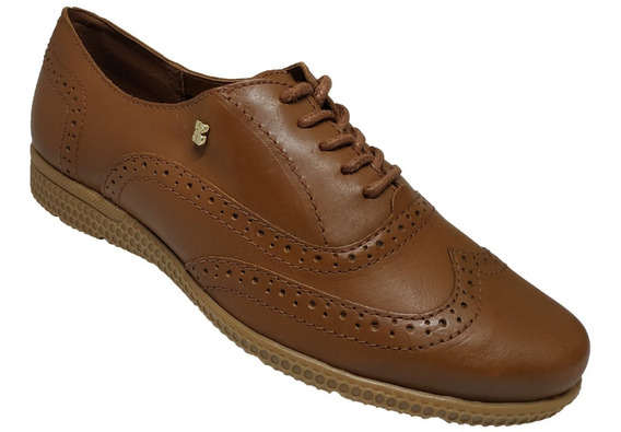 Sapato Feminino Oxford Em Couro Bottero Caramelo 301905