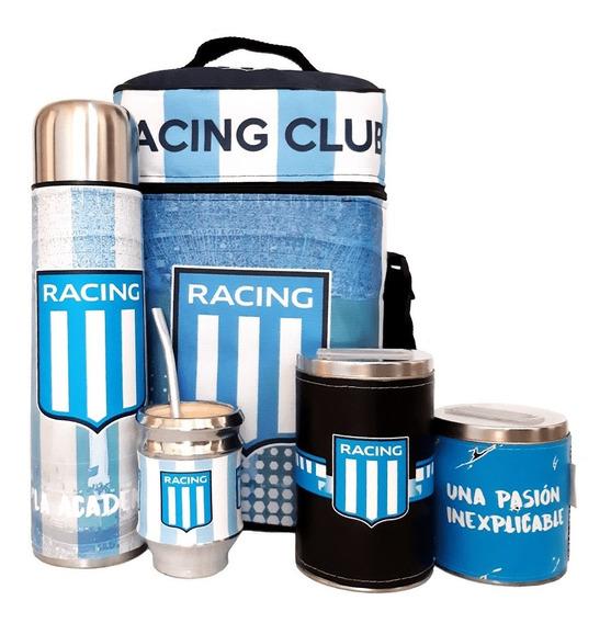 Equipo De Mate Completo Racing Club Cuero Set Kit Matero