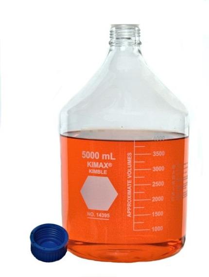 Botella Para Medio De Cultivo, 5 Litros, Vidrio Borosilicato