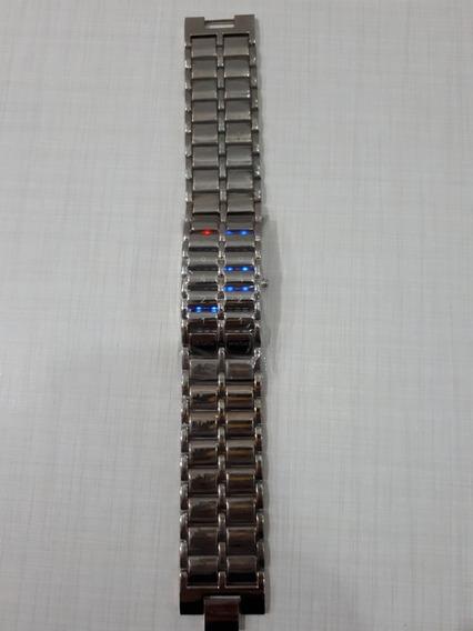Relógio Masculino Led Iron Samurai Modelo Somatória Prata