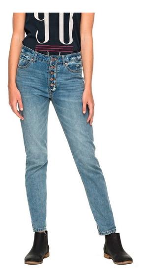Jeans Mujer Pantalón Corte Recto Cierre De Botones Roxy