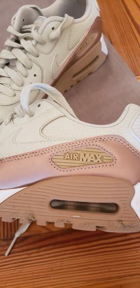 Zapatillas Nike Air Max Dama De Cuero Blanco Y Cobre
