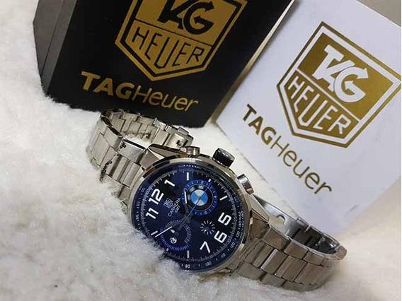 Relogio Th - B M W - Aço - Cronografo - Datador - Azul