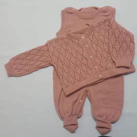 Conjunto Bebê Tricot Ponto Aberto Bordado Perolas Rosê