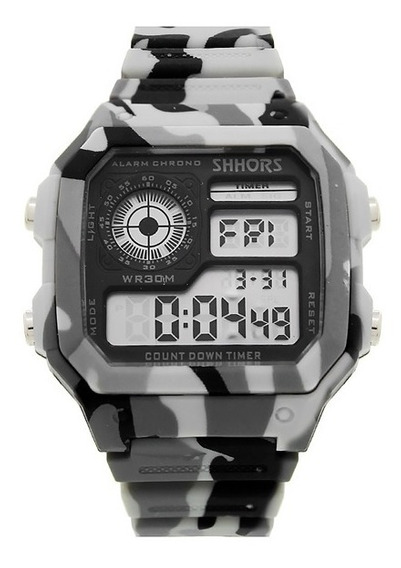 Reloj Militar Hombre Tactico Deportivo Digital Cronometro Alarma Luz Fecha Reloj De Pulsera Camuflaje - Blanco