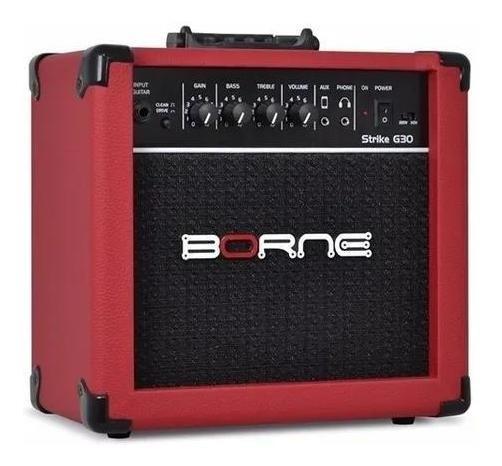 Amplificador Cubo Guitarra G30 Vermelho Borne C/ Distorção