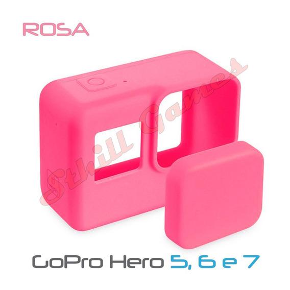 Capa Protetora + Tampa Em Silicone Gopro Hero 5,6 E 7 Rosa