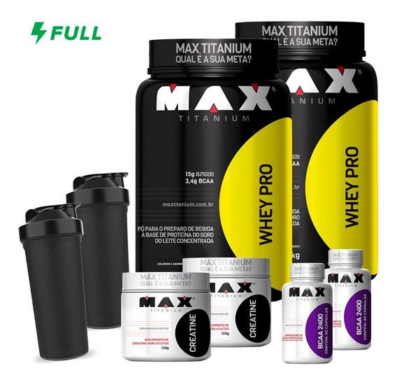 Combo 2x Whey Protein + 2x Bcaa + 2x Creatina - Max Titanium + 2x Shaker