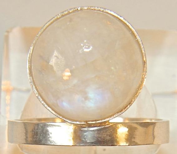 Rsp J4959 Anel Solitário Prata 950 Pedra Da Lua Mística Natu