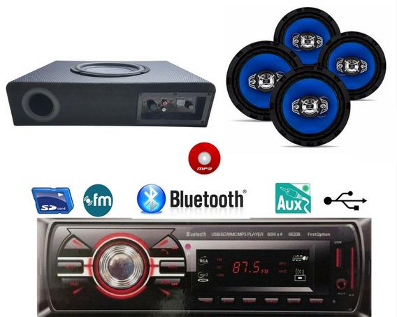 Kit Caixa Amplificada+rádio Bluetooth Usb +4 Falante 6 Pol