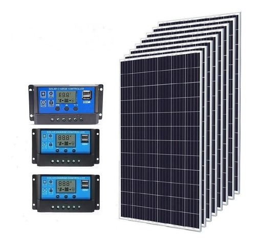 Kit 6x Painel Placa 2 Controladores Solar Fotovoltaico 150w