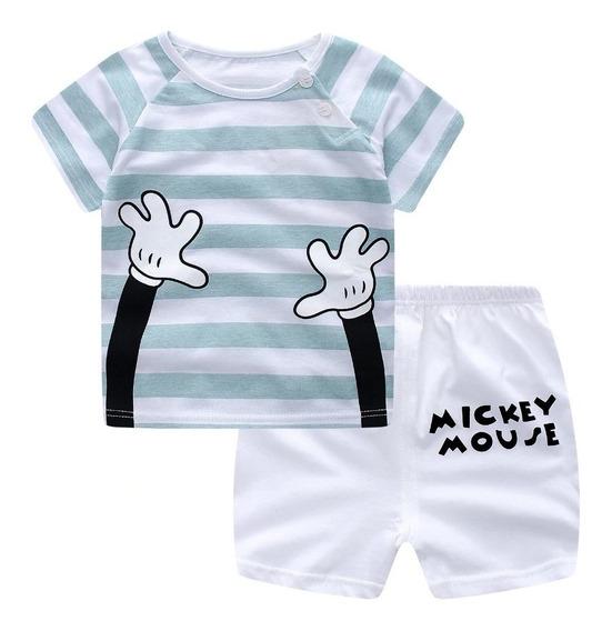 Conjunto Para Bebes Niños Short Y Camisa Primavera Verano