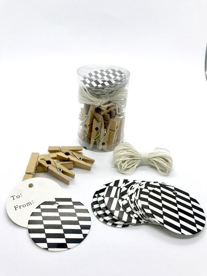 Tarjetas Colgantes Souvenir, Hang Tags + Minibroches X24un