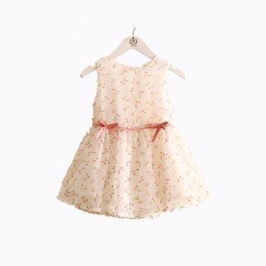 Vestido De Organza Plumeti Estampado Con Cerezas De Fiesta