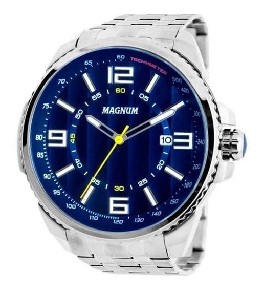 Relógio Magnum Masculino Prata Azul Original Nota Fiscal