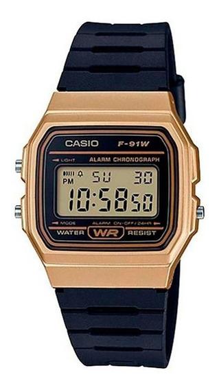 Relógio Casio Unissex Vintage F-91wm 9adf Dourado Digital