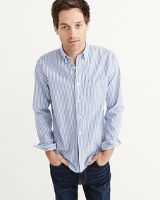 Camisa Abercrombie & Fitch Stretch Poplin Manga Larga