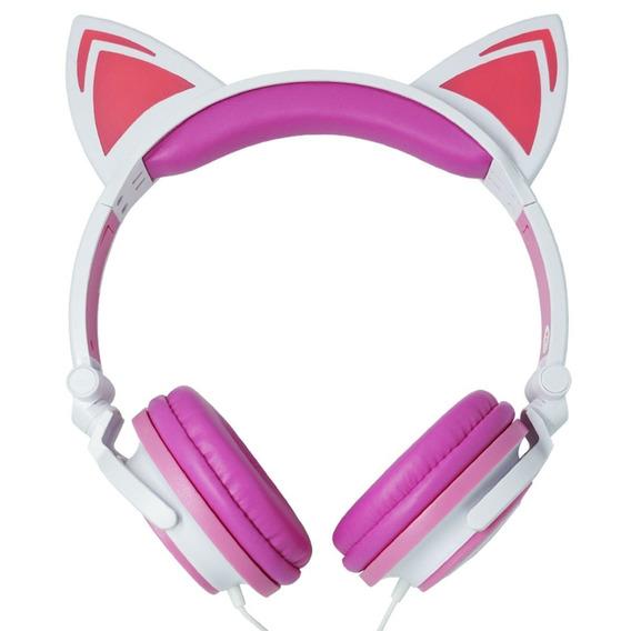 Fone Ouvido Headphone Led Infantil Com Fio Orelha Gatinho P2