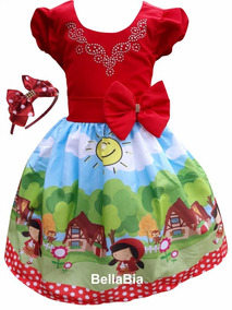 Vestido Chapeuzinho Vermelho +tiara Brinde