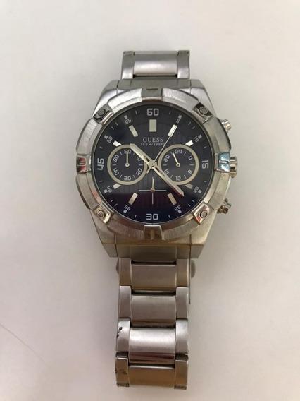 Relógio Guess Masculino U0377g2 - Prata Com Mostrador Azul