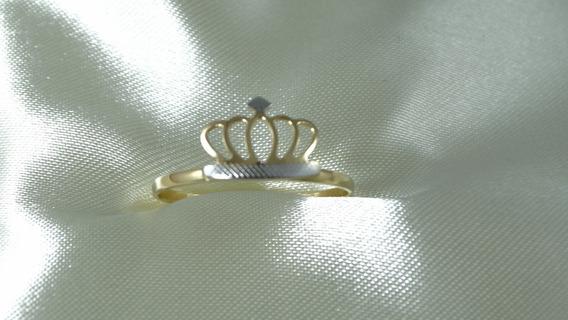 Anel Coroinha De Ouro Amarelo E Branco Bem Trabalhado!