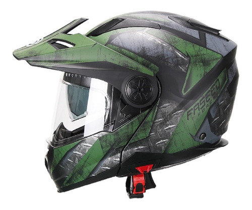 Casco Abatible Moto Fassed Fs-909 Verde Doble Proposito