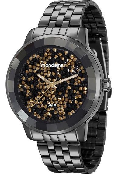 Relógio Fem Preto C/ Fundo De Strass Escuro E Dourado, 94713