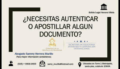 Apostillado, Autenticas (abogados De Honduras)