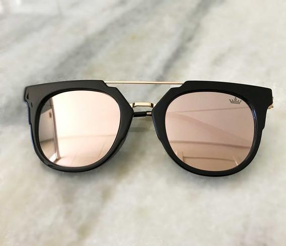 Óculos De Sol Carmim Preto Com Lente Espelhada Original