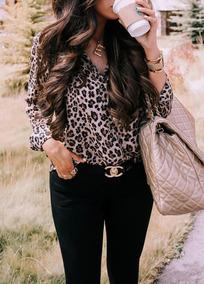 V -neck Estilo Ocio Leopardo Impreso