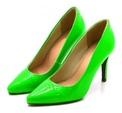 Sapato Scarpin Salto Alto Fino Verniz E Neon Conforto Verão